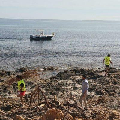 Imagen Comienza   la   limpieza   de   las   calas   de   Cabo   Roig   yAguamarina desde el mar